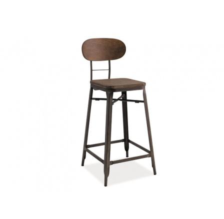Barová židle Lope grafit / tmavý ořech