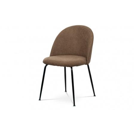 Jídelní židle, hnědá látka, kovová čtyřnohá podnož, černý matný lak