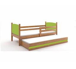 Postel z masivu pro 2 děti TAMI 2 - Olše/Zelená