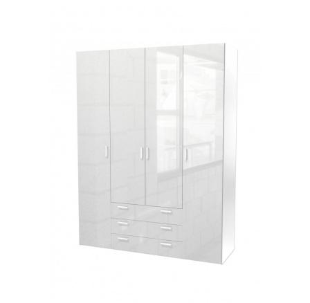 Skříň Sid 4d3s bílá/bílý lesk