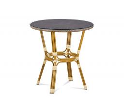 Zahradní stůl, sklo, cappuccino plastový výplet, kov, zlatohnědý lak