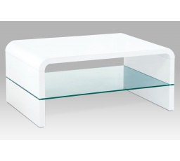 (AHG-010 WT) Konferenční stolek 90x60x40cm, MDF bílý vysoký lesk, čiré sklo