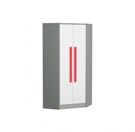 Rohová šatní skříň GIT - 2, Červená