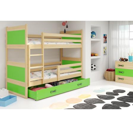 Patrová postel Riky borovice/zelená