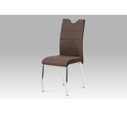 Jídelní židle coffee látka + hnědá koženka / chrom