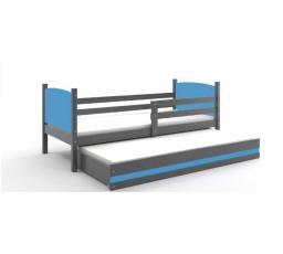 Postel z masivu pro 2 děti TAMI 2 - Grafit/Modrá