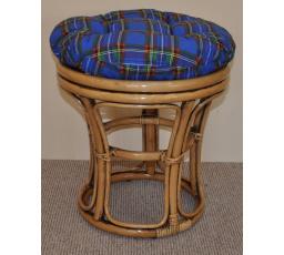 Ratanová taburetka brown wash polstr modrý