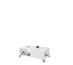 Konferenční stolek BERGEN - BE10, Bílý Lux + Bílá vysoký lesk