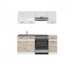 Kuchyň Junona Modul 180, bílá/bílý lesk/dub san remo světlý