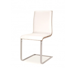 Jídelní židle H-690 bílá/dub sonoma, chrom