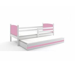 Postel z masivu pro 2 děti TAMI 2 - Bílá/Růžová