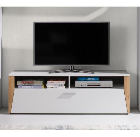 TV stolek Piass bílá/dub zlatý