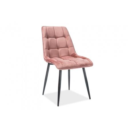 Jídelní židle CHIC VELVET, růžová/černý mat