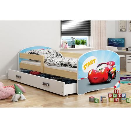 Dětská postel Luki - Přírodní (Autíčko) 160x80 cm