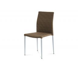 Zahradní židle, umělý ratan, kovová podnož, stříbrný lak, stohovatelná
