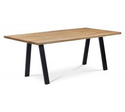 Jídelní stůl 180x90x75 cm, masiv dub, povrchová úprava olejem, kovová podnož, černý matný lak