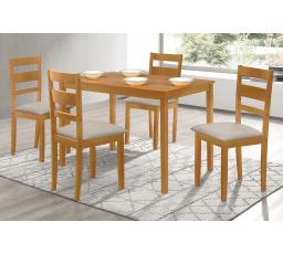 Jídelní set 1+4, rozměr stolu 120x75x75 cm, MDF, dubová dýha, šedé látkové sedák