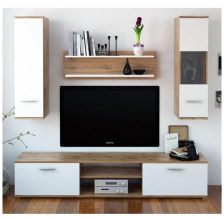 Obývací stěna WAW dub wotan / bílá