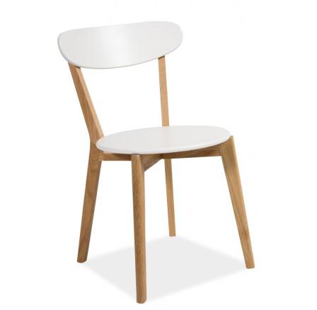 Jídelní židle MILAN, bílá/dub