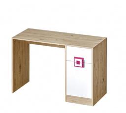 NICO - Psací stůl 10 / Barva korpusu: Dub světlý , Barva dvířek: Bílá / Růžová