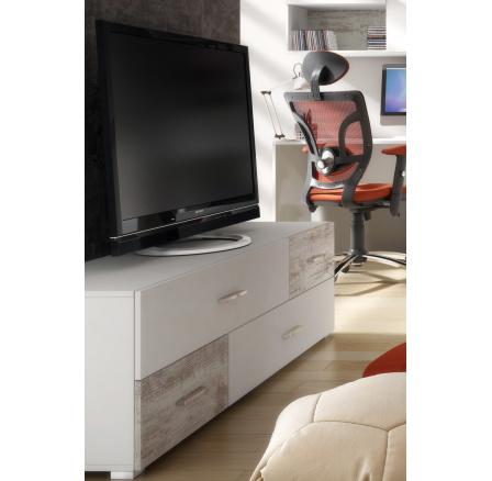 JUMP JU63 - TV stolek - bílá mat/borovice Canyon ( P5SSJU63 ) (MM) ***VÝPRODEJ