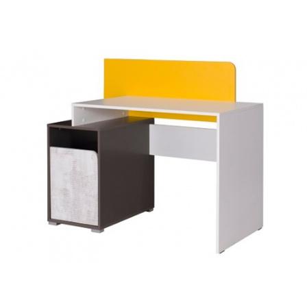 Psací stůl Bruno bílá/grafit/enigma/žlutá