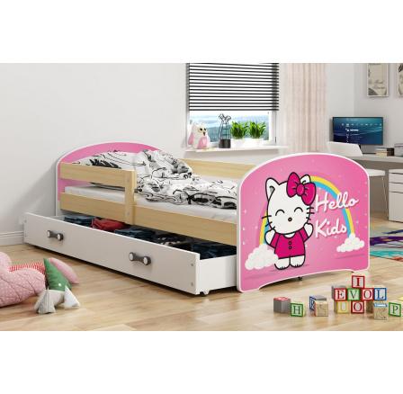 Dětská postel Luki - Přírodní (Kitty) 160x80 cm