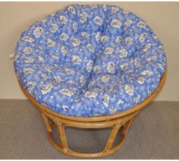 Ratanový papasan pro pejsky motiv modré mráčky