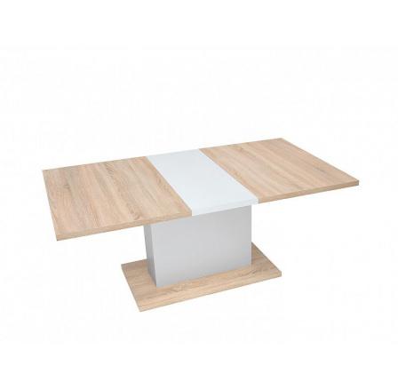 Jídelní stůl TRAWERS, dub sonoma/bílá alpská
