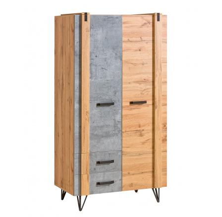 Šatní skříň LOFTER - LO1, Dub Wotan + Beton Millenium