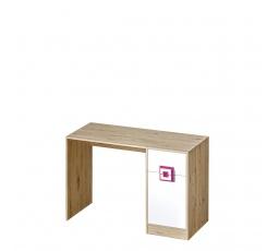 NIKOS 10 - Psací stůl (NICO 10) - bílá/dub světlý- úchyt růžová (DO) (K150-Z)