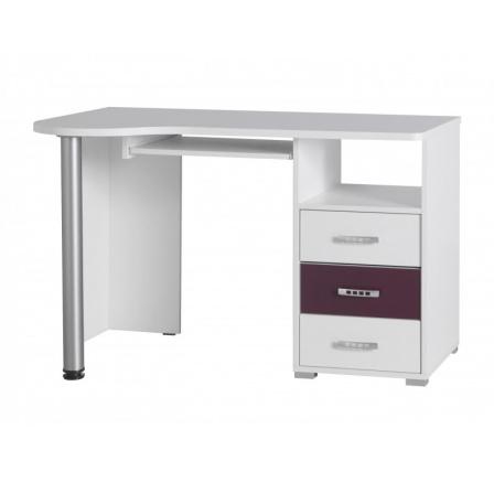 Psací stůl Nemo R11 bílá/fialový lesk