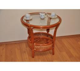 Ratanový stolek KINA kulatý koňak