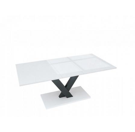 Jídelní stůl VALERIAN, bílý lesk/černá/bílá alpská