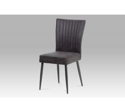 Jídelní židle látka šedá / broušený kov antik