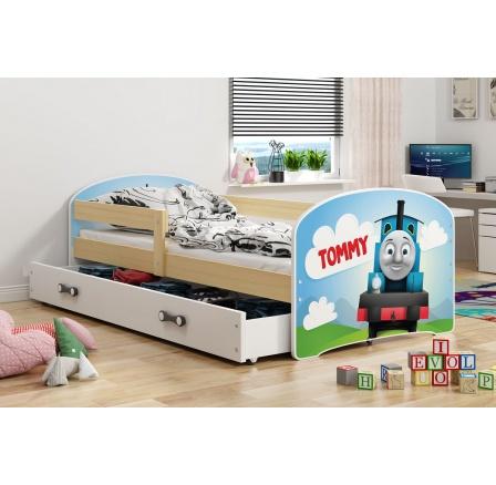 Dětská postel Luki - Přírodní (Mašinka) 160x80 cm