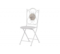 Zahradní židle, keramická mozaika, kovová konstrukce, bílý matný lak (typově ke stolu US1000)