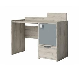 Psací stůl SMILE / korpus: dub Craft bílý, dvířka: šedá