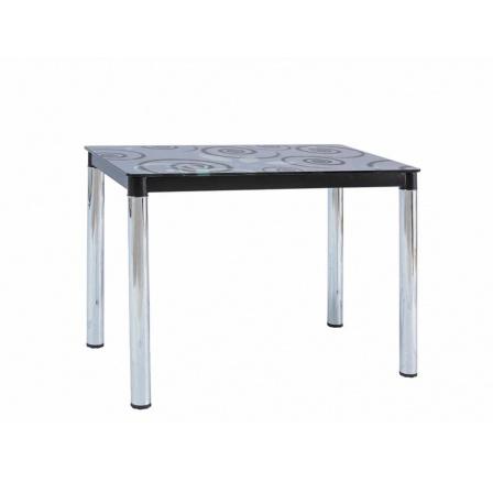 """DAMAR II - jídelní stůl (DAMARSZ), černý/nohy chrom tvrzené sklo s ornamentem 100X60  kolekce """"S"""" (K150-Z)"""