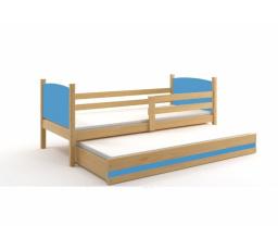 Postel z masivu pro 2 děti TAMI 2 - Buk/Modrá