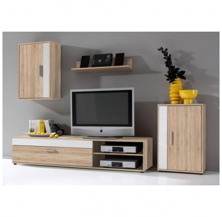 Obývací stěna  ASOLE bílá / dub sonoma