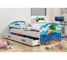 Dětská postel Luki - Bílá (Piráti) 160x80 cm