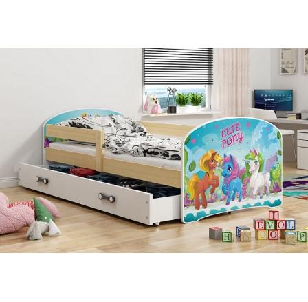 Dětská postel Luki - Přírodní (Ponny) 160x80 cm