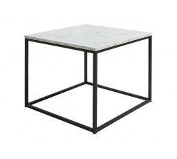 stolek AROZ LAW/69 mramor carrara bílý/černý kovový rám