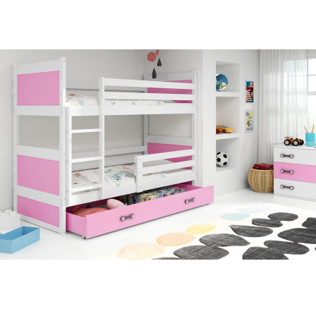 Patrová postel Riky bílá/růžová