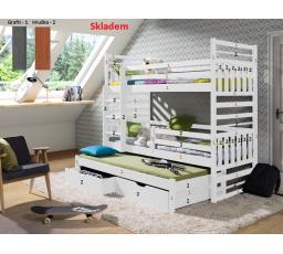 HIPOLIT - patrová postel pro 3 děti 180 x 80 - Hruška -Grafit