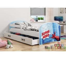 Dětská postel Luki - Bílá (Spiderman) 160x80 cm
