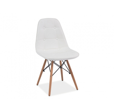 Jídelní židle AXEL, bílá/buk