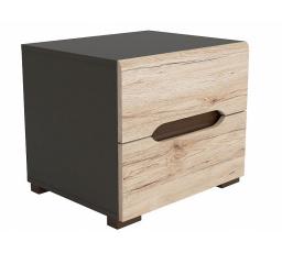 Noční stolek ELPASSO KOM2S šedý wolfram/dub san remo světlý
