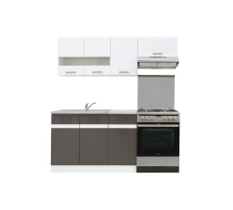 Kuchyň Junona Modul 180, bílá/bílý lesk/šedý wolfram - SUPERAKCE